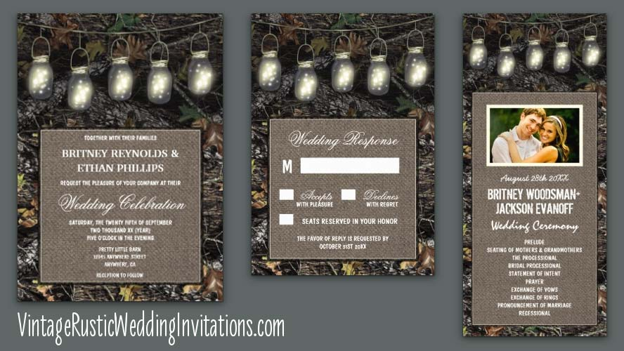 Camo Wedding Invitations - Vintage Rustic Wedding Invitations