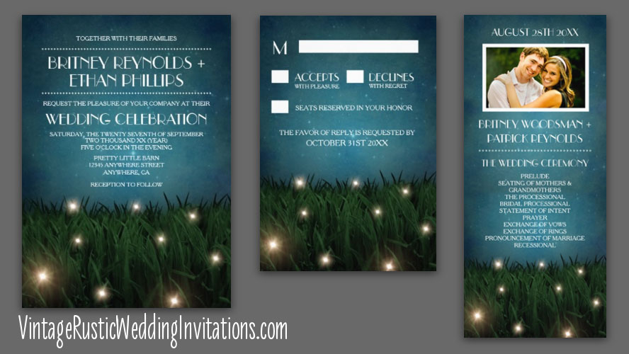 Outdoor garden firefly wedding invitations