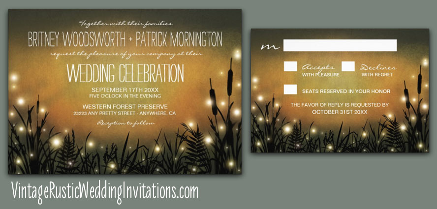 Outdoor firefly rustic wedding invitations