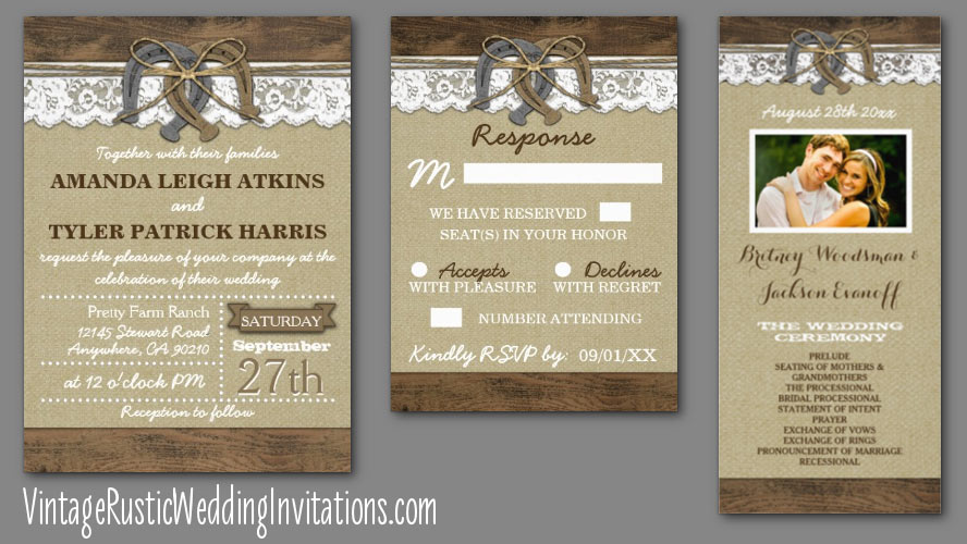 horseshoe wedding invitations - vintage rustic wedding invitations, Wedding invitations