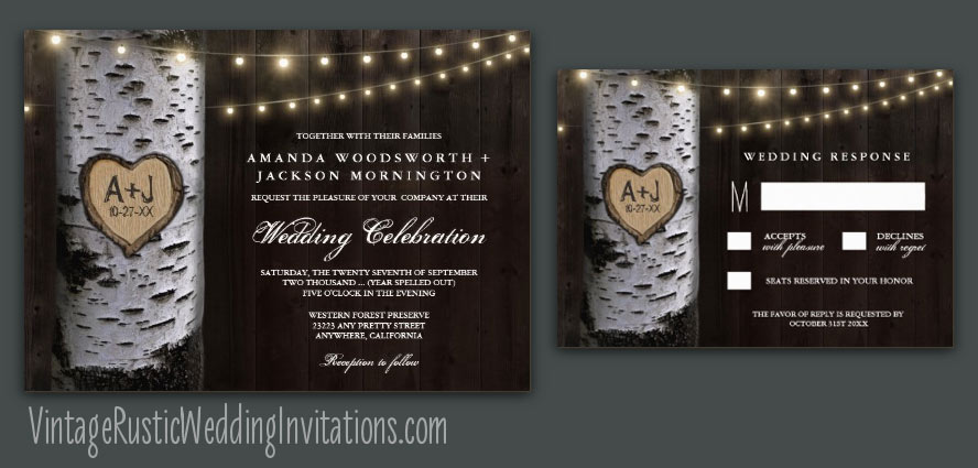 String lights birch carved tree wedding invitations