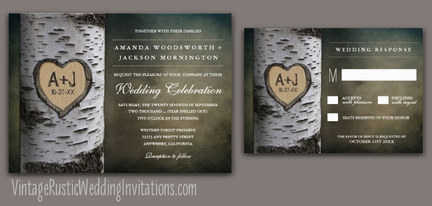 Vintage carved initials birch tree wedding invitations
