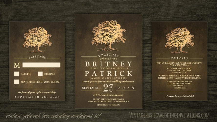 Vintage rustic gold oak tree wedding invitations set