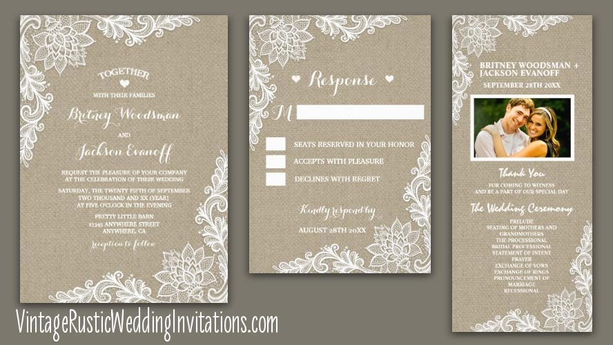 BURLAP AND LACE WEDDING INVITATIONS SET IN FLORAL LACE DESIGN