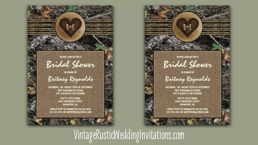 Burlap and carved heart camo bridal shower invitations