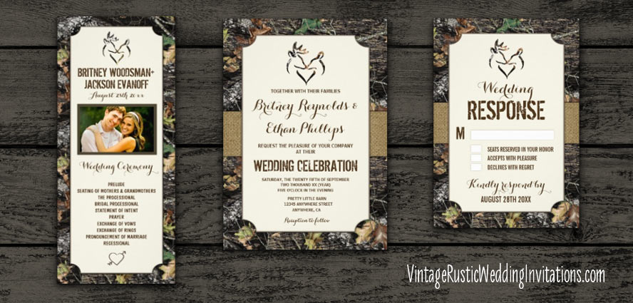 CAMOUFLAGE BROWNING WEDDING INVITATIONS