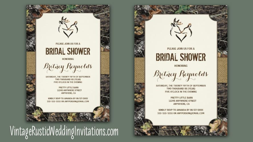deer camo bridal shower invitations
