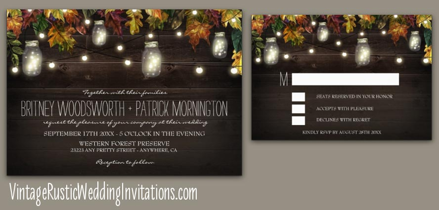 Fall Mason Jar Wedding Invitations with Leaves String Lights + Fireflies
