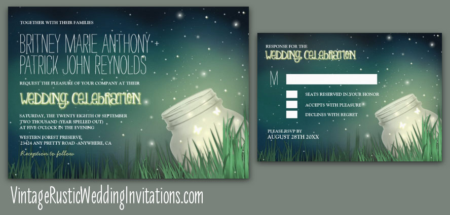 Mason Jar Firefly Wedding Invitations with Starry Night Sky