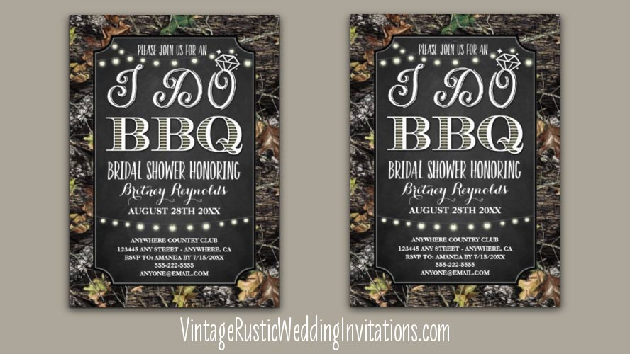 I do BBQ camo bridal shower invitations