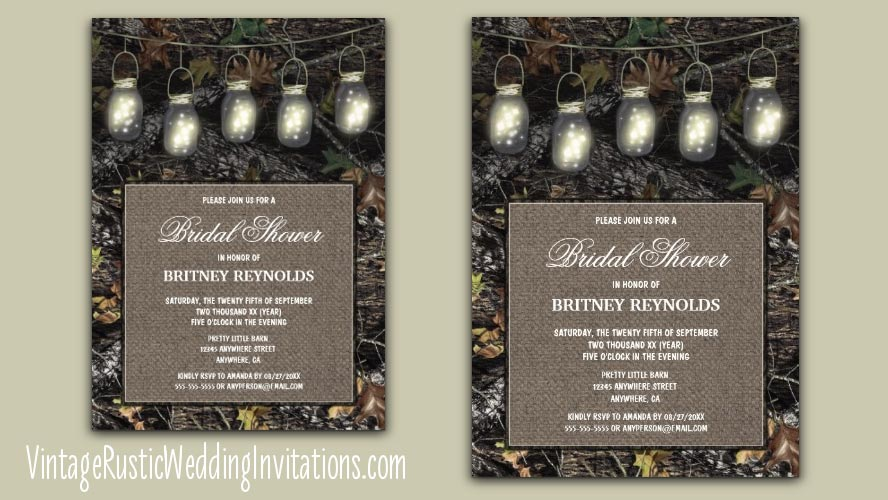 Mason jar hunting camo bridal shower invitations