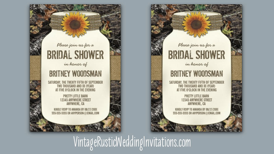 mason jar sunflower camo bridal shower invitations