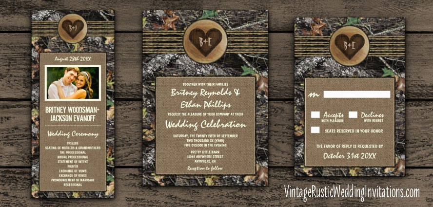 Mossy oak wedding invitations