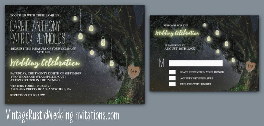Oak tree wedding invitations set with stars