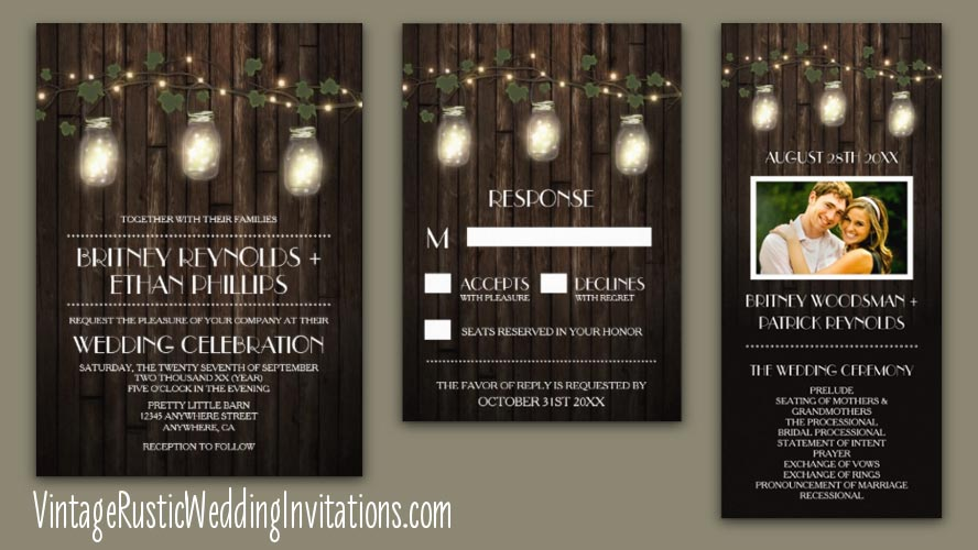rustic grapevine mason jar vineyard wedding invitations - Winery Wedding Invitations