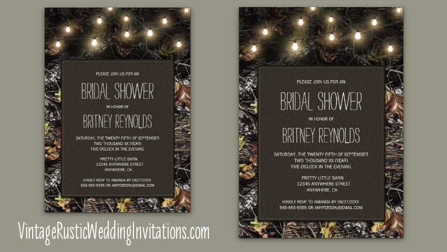 String lights Mossy Oak camo themed bridal shower invitations