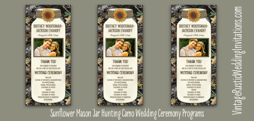 sunflower-hunting-camo-wedding-programs