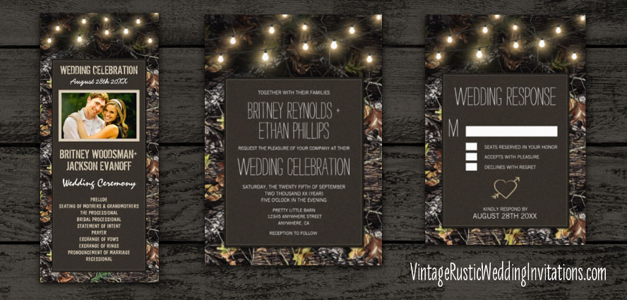 Twinkle lights hunting camouflage wedding invitations