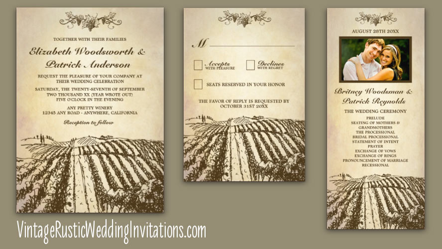 Vintage Themed Winery Wedding Invitations With Vineyard Template Design