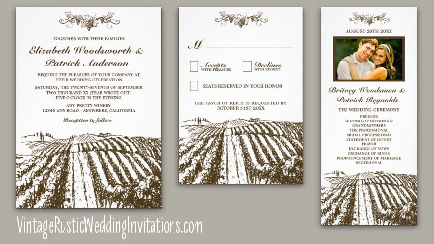 Country rustic vineyard wedding invitations