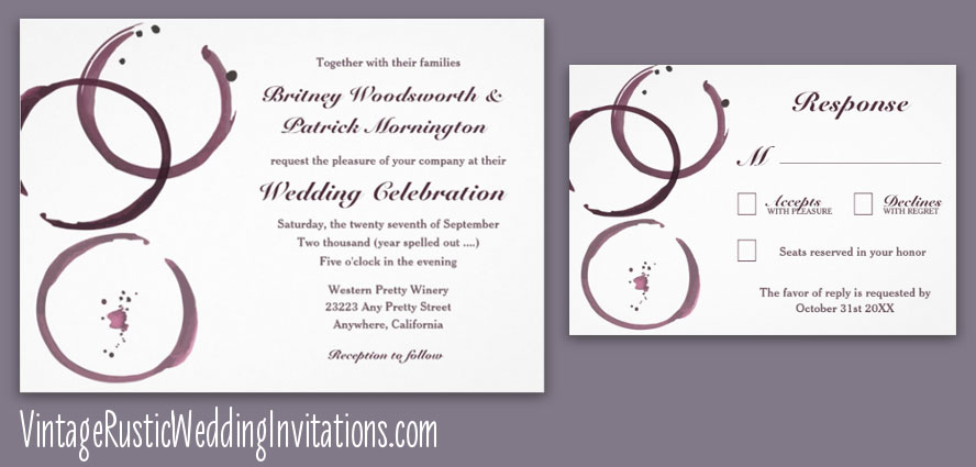 Winery wine stain vineyard wedding invitations