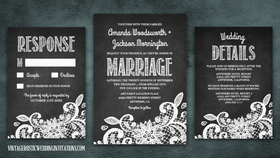 Chalkboard and lace wedding invitations set.
