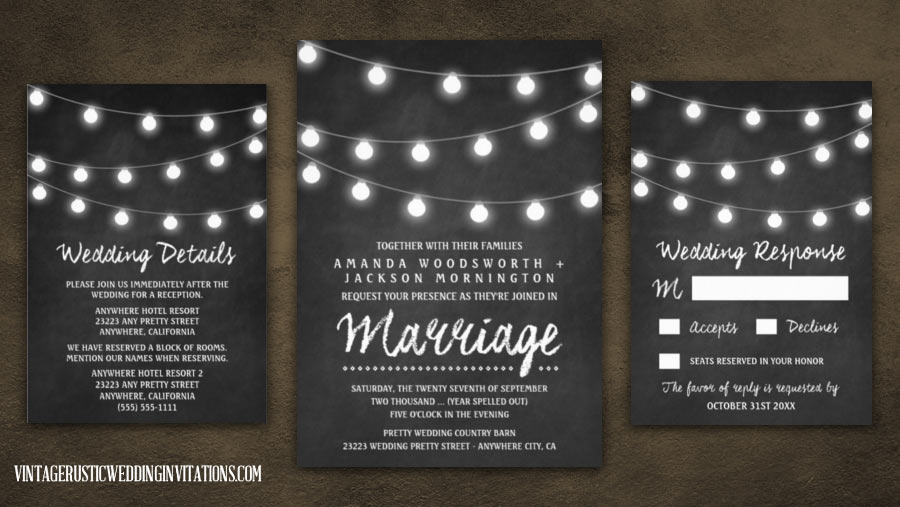chalkboard wedding invitations set with string lights