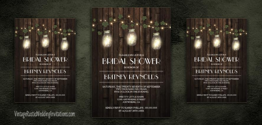 Mason jar bridal shower invitations with grapevine and twinkle lights