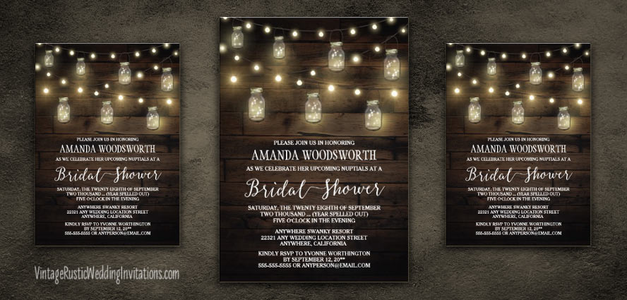 Mason jar bridal shower invitations with string lights