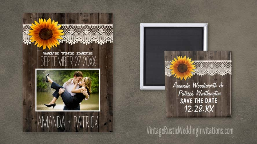 Barn wood and lace sunflower save the date cards and magnets