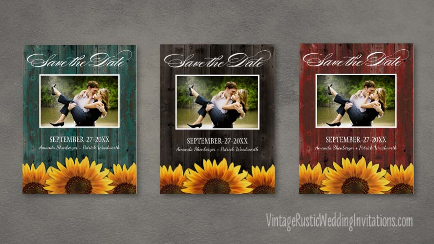 Barn wood sunflower save the date cards - customize to your own photo. Available in rustic brown, barn wood red and turquoise blue-green.