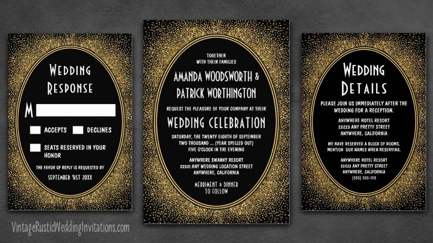 Black and gold foil confetti art deco wedding invitations