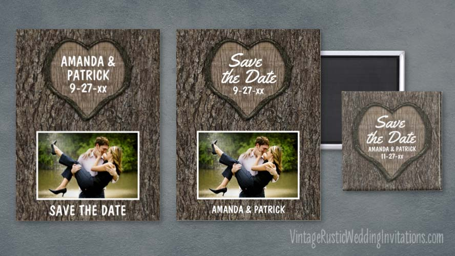 Carved oak heart tree save the date postcards, magnets and cards set