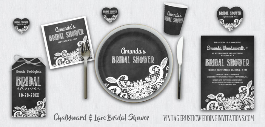 Chalkboard and lace bridal shower invitations, favors, cups, plates, favor tags, and napkins.