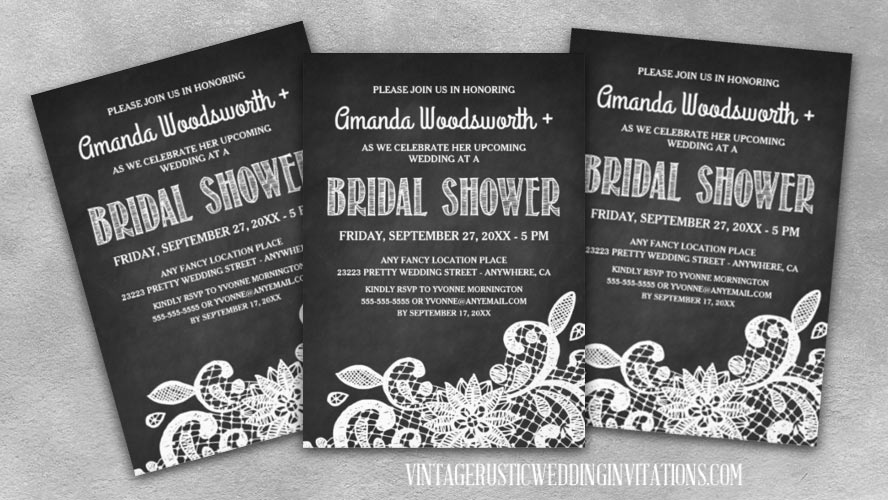 Chalkboard and lace bridal shower invitations
