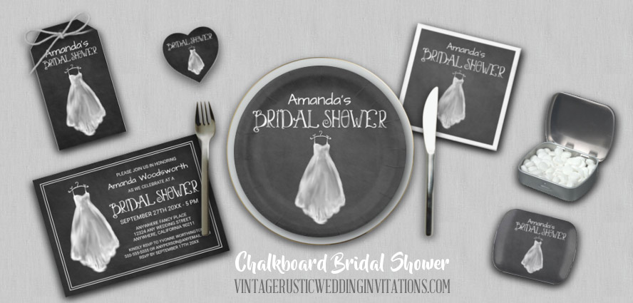 Chalkboard bridal shower invitations with matching party plates, napkins, favors, favor tags and more.