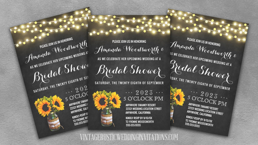Chalkboard and sunflower bridal shower invitations with a burlap and lace decorated mason jar design.
