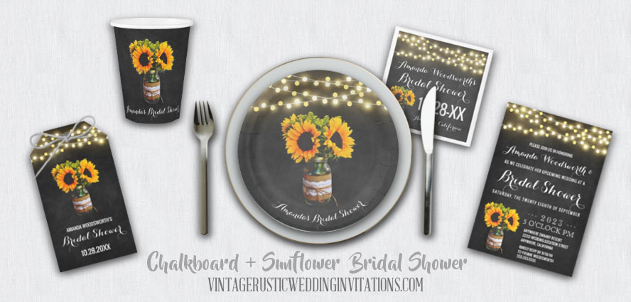 Chalkboard bridal shower invitations with a burlap and lace decorated mason jar filled with a sunflower design.