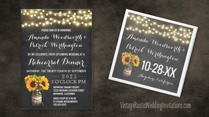 Chalkboard sunflower mason jar rehearsal dinner with burlap and lace decor.