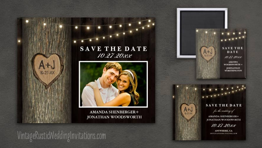Country rustic carved oak tree save the date cards, postcards, & magnets.