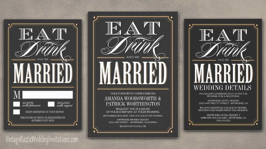 Eat drink and be married vintage art deco wedding invitations