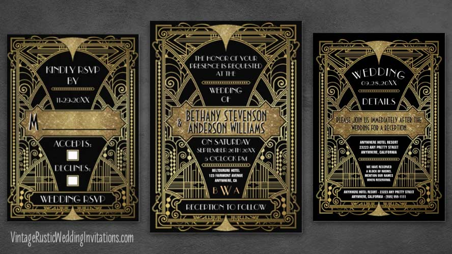Bridal shower invitations vintage rustic wedding invitations art deco wedding invitations filmwisefo