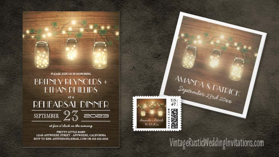 Hanging mason jar rehearsal dinner invitations with a barn wood background and fireflies