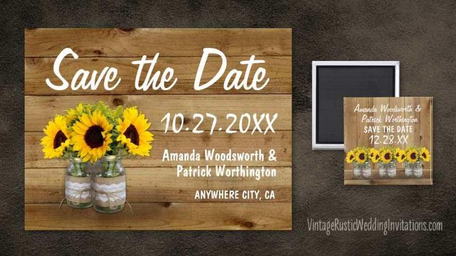 Sunflower save the date cards with a barn wood background and mason jars wrapped in burlap and lace.