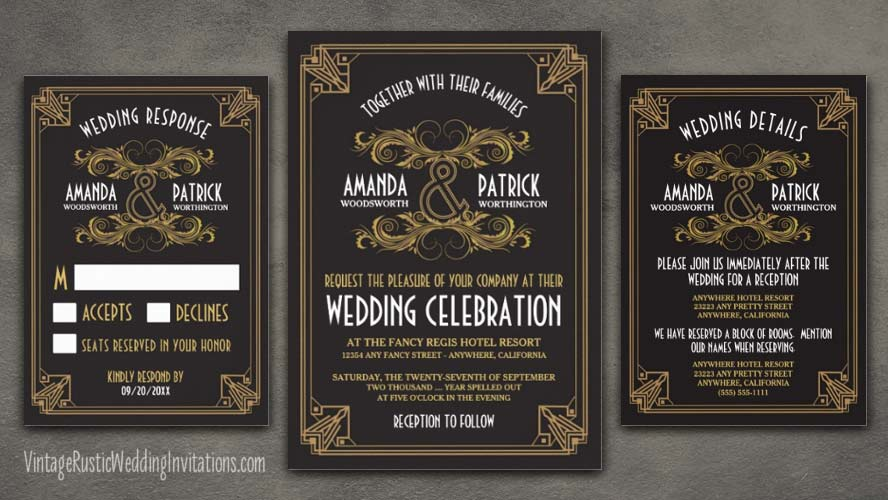 vintage art deco wedding invitations