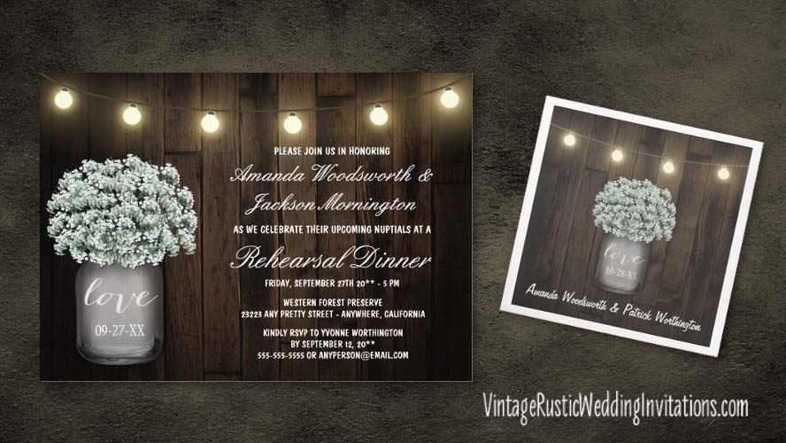 Rustic baby's breath in a mason jar rehearsal dinner invitations
