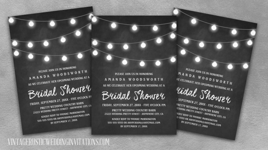 Country rustic chalkboard and string lights bridal shower invitations.