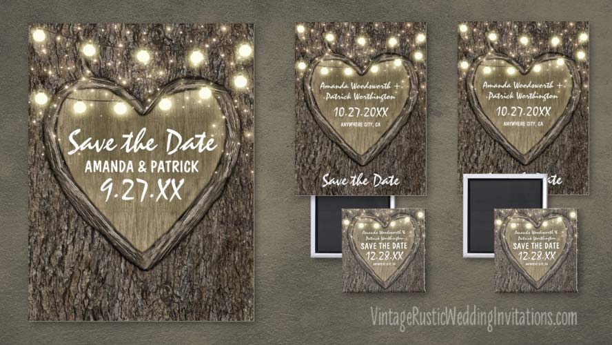 String lights + carved heart oak tree bark save the date cards, postcards and magnets