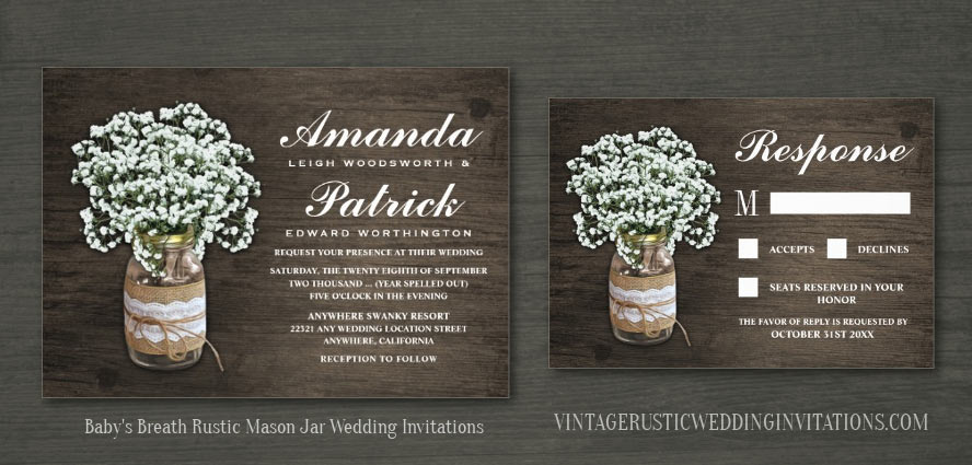 Baby's breath wedding invitations with a mason jar decorated with burlap lace and twine