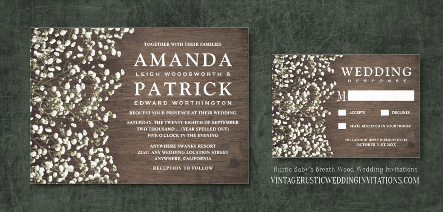 Barn wood baby's breath wedding invitations set